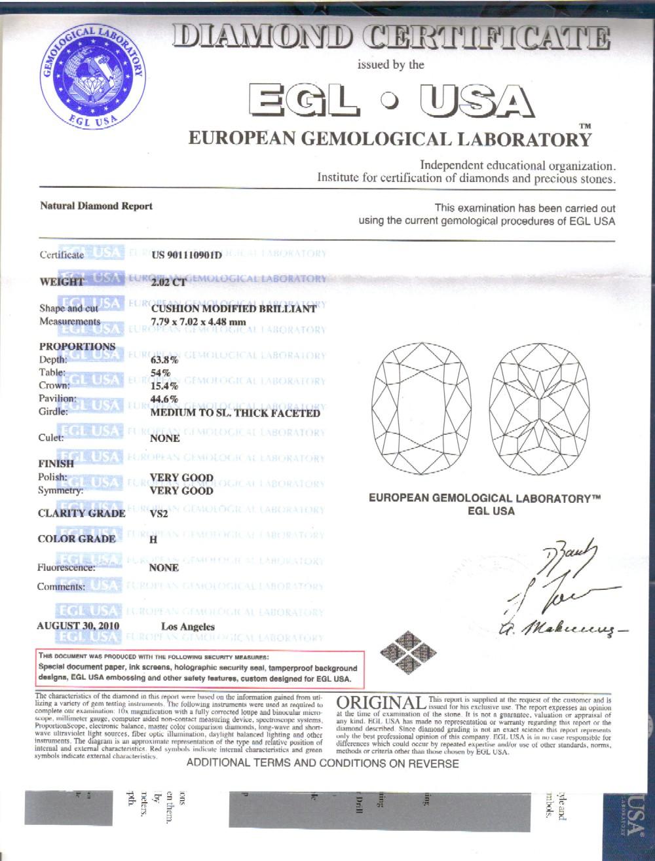 32 Ct Cushion Cut Diamond Engagement Ring H Vs2 Egl Certified