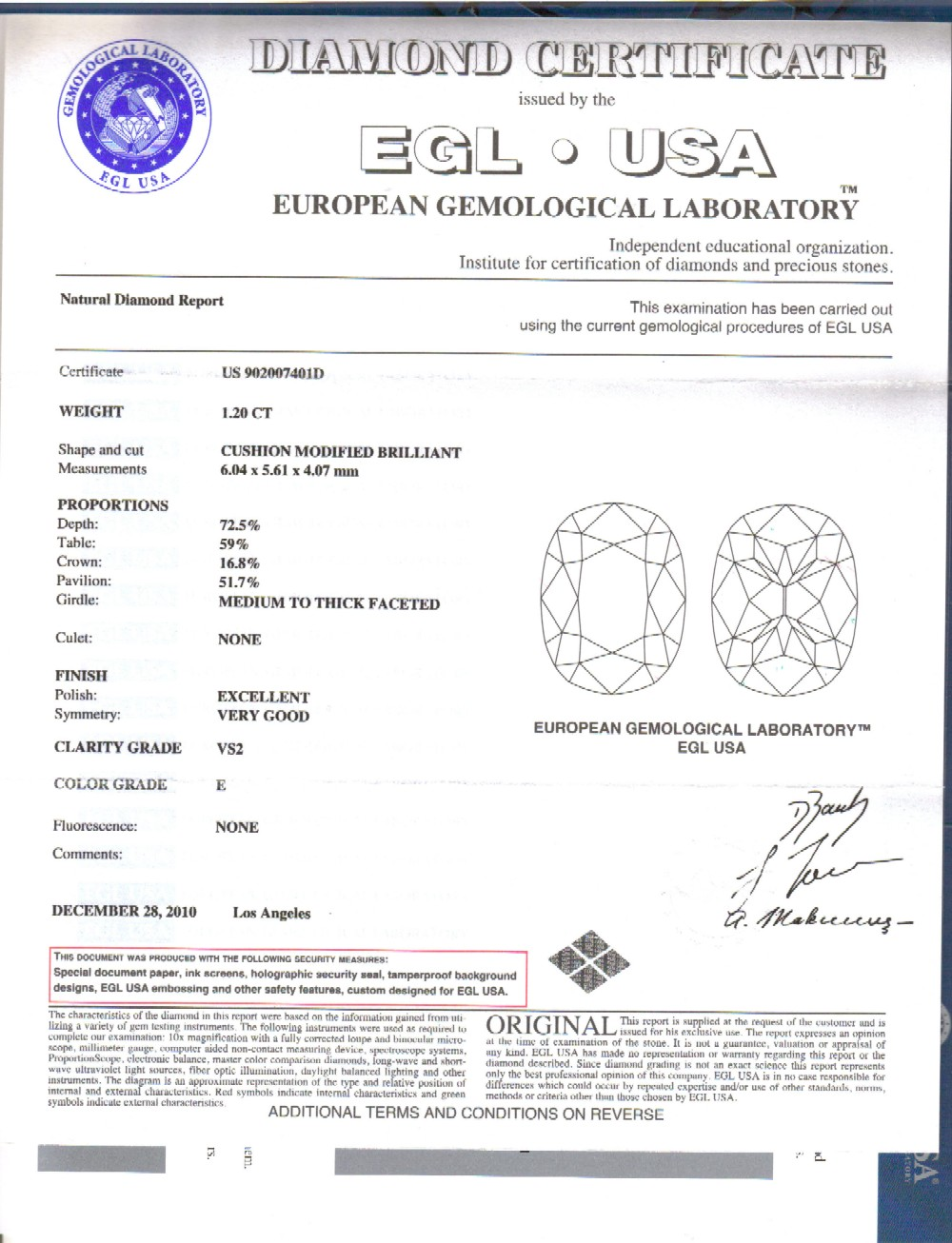 21 Ct Cushion Cut Diamond Engagement Ring E Vs2 Egl Certified