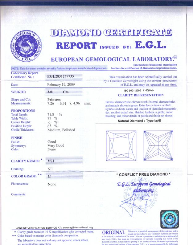 469 Ct Princess Cut Diamond Engagement Ring G Vs1 Egl Certified