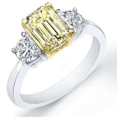 ct canary emerald cut diamond engagement ring ebay. Black Bedroom Furniture Sets. Home Design Ideas