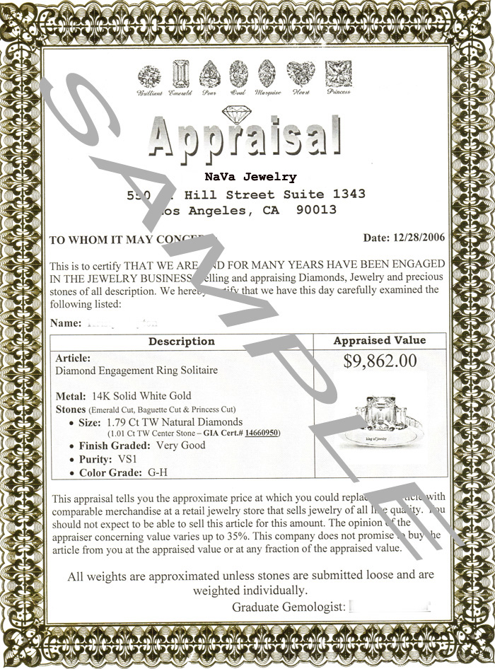 Sample jewelry appraisal form style guru fashion glitz for Jewelry appraisal form template