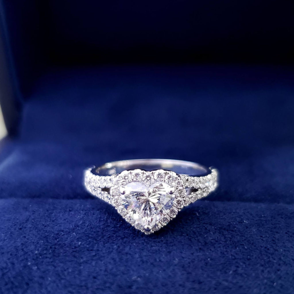 Natural Heart Cut Halo Split Shank Diamond Engagement Ring
