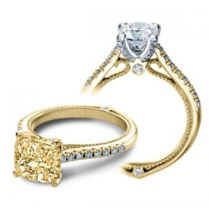 yellow diamond cushion cut Verragio couture prong pave