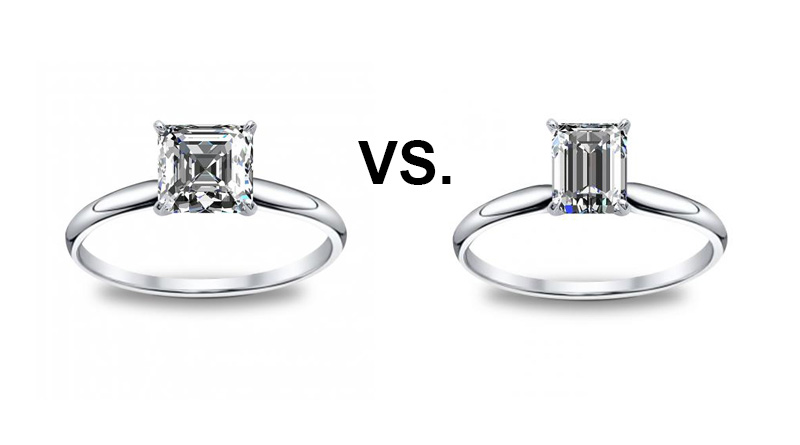 Asscher Cut Vs Emerald Cut Diamond Engagement Rings
