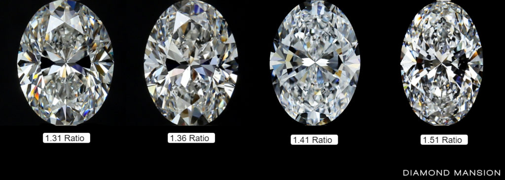 Comparing 4 oval diamonds with different length to width ratios