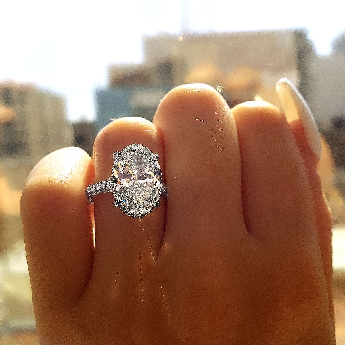 Brilliant Oval Cut Diamond Engagement Ring Designed by Diamond Mansion