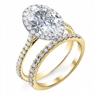 Halo U-Prong Pave Natural Diamond Engagement Ring
