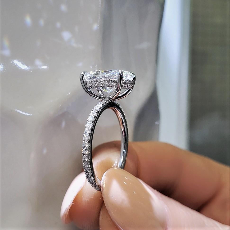 Hidden Halo Diamond Engagement Rings