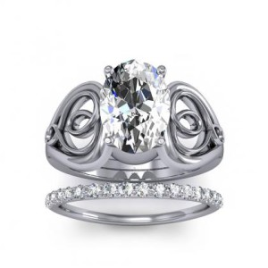 Natural Diamond Oval Cut Soliatire Heart Scroll Diamond Engagement Ring