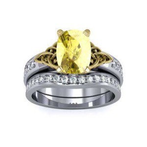Yellow Diamond Cushion Cut Celtic Knot