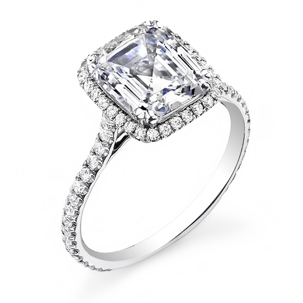 1.68 Ct Asscher Cut Natural Diamond Halo U-Pave Setting