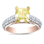2.8CT. Yellow Diamond Cushion Cut Micro-Pave Natural Diamond Engagement Ring 14K Rose Gold GIA