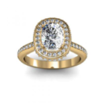3.8CT Natural Diamond Cushion Cut Side Profile Square Halo Engagement Rings 14K Yellow Gold GIA