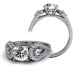2CT. Natural Diamond Cushion Cut Three Stone Halo Tear Drop Shank Diamond Engagement Ring 12K Platinum GIA