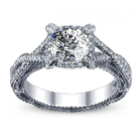 0.7CT Natural Diamond Cushion Cut Verragio Infinity Designer Pave Diamond Engagement Ring 18K White Gold GIA