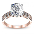 1CT. Natural Diamond Cushion Cut Designer Double Row Pave Verragio Diamond Engagement Ring 18K Rose Gold GIA