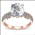 1CT. Natural Diamond Cushion Cut Designer Double Row Pave Verragio Diamond Engagement Ring 18K Rose Gold GIA