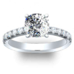 2.6CT Natural Diamond Cushion Cut Prong Setting Natural Round Pave Engagement Ring 14K Platinum GIA