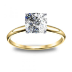 1CT. Natural Diamond Cushion Cut Soliatire Diamond Engagement Ring 18K Yellow Gold GIA