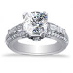 2.74CT. Natural Diamond Cushion Cut Baguette Bar Set with Round Pave Diamond Engagement Ring Platinum GIA