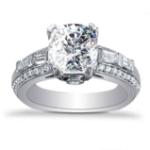 2.74CT. Natural Diamond Cushion Cut Baguette Bar Set with Round Pave Diamond Engagement Ring Platinum GIA