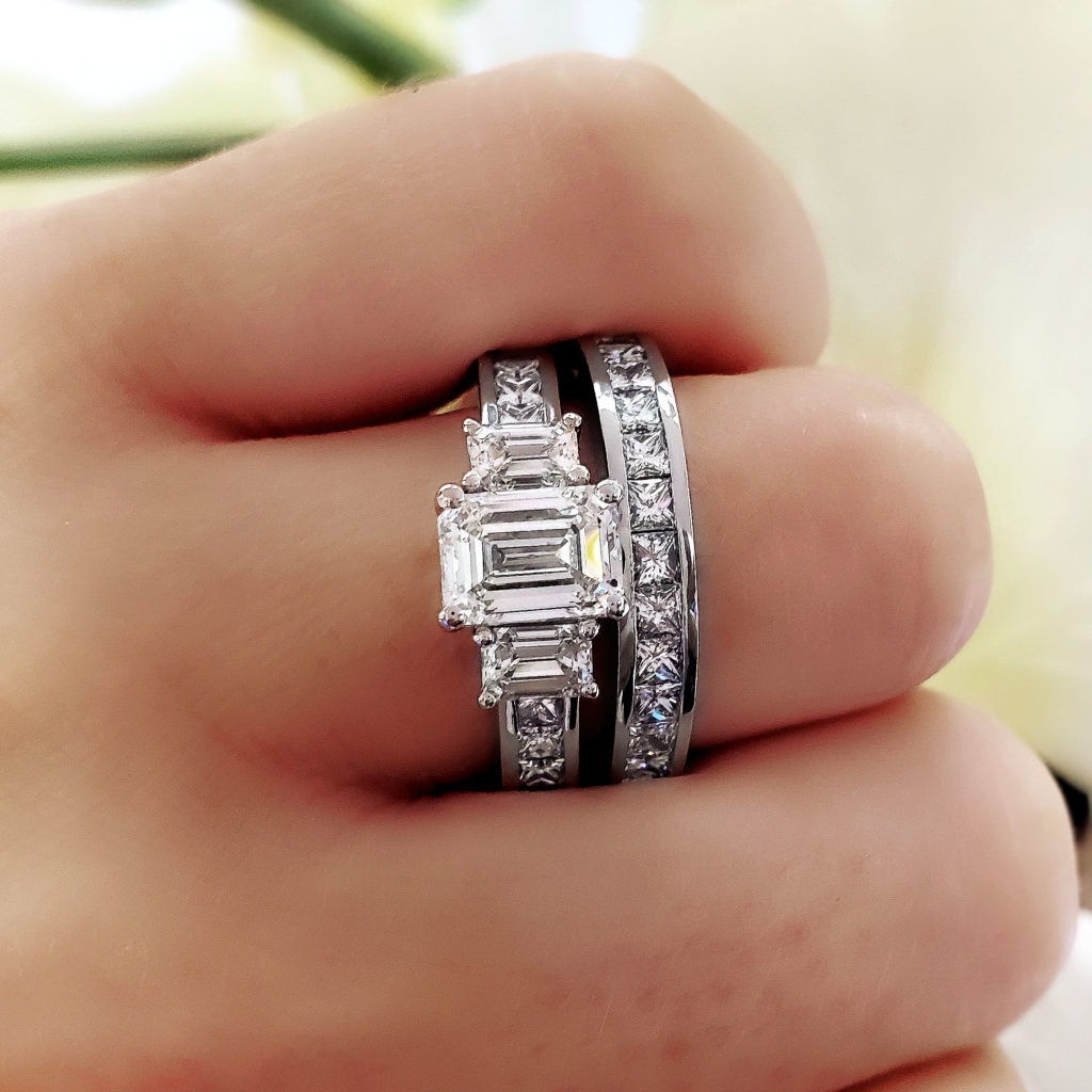 2.2 Ct. Emerald Cut Natural Diamond Classic 3 Stone Emerald Princess Channel Engagement Ring (GIA Certified)