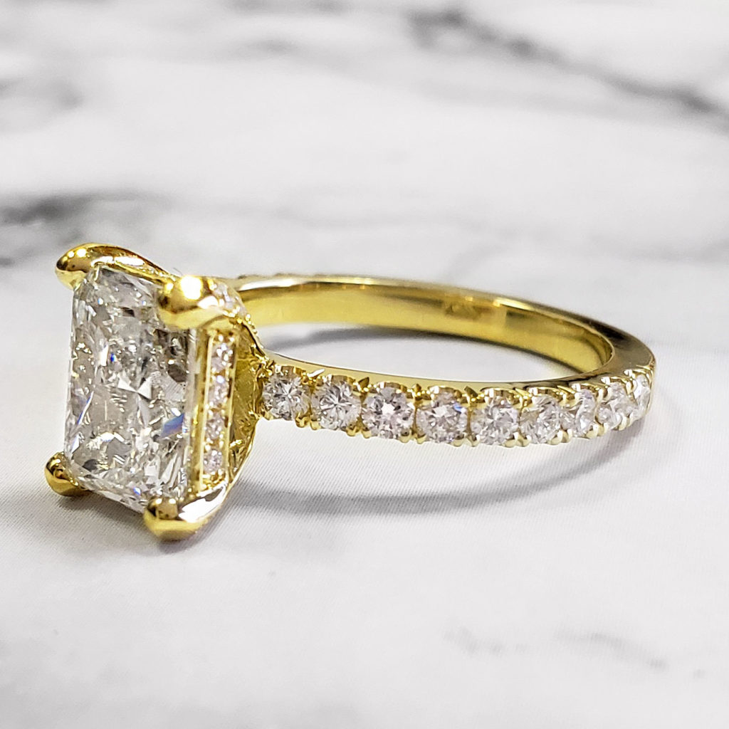 Natural Radiant Cut Hidden Halo Pave Diamond Engagement Ring
