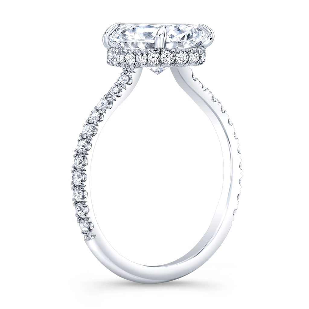 1.5 Ct. Oval Cut Natural Diamond Natural Oval Hidden Under Halo Pave Diamond Engagement Ring (GIA Certified)