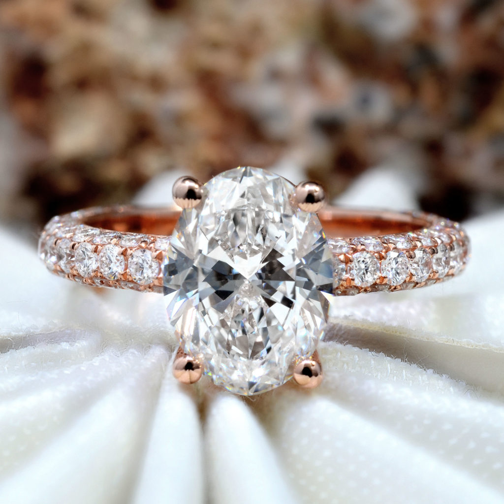 1.7 Ct. Oval Cut Natural Diamond Natural Under Halo 3 Row Micro Pave Setting Diamond Engagement Ring (GIA Certified)
