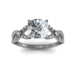 1.705CT. Natural Diamond Cushion Cut Split Shank w/ Accents Sidestones Natural Diamonds Engagement Ring 18K White Gold GIA