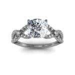 1.705CT. Natural Diamond Cushion Cut Split Shank w/ Accents Sidestones Natural Diamonds Engagement Ring 18K White Gold GIA