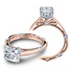 2.2CT Natural Diamond Cushion Cut Verragio Parisian Three Stone Pave Designer Engagement Ring 18K Rose Gold GIA