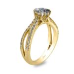 1CT. Natural Diamond Cushion Cut Parade Design Hera Bridal Split Shank Pave Diamond Ring 18K Yellow Gold GIA