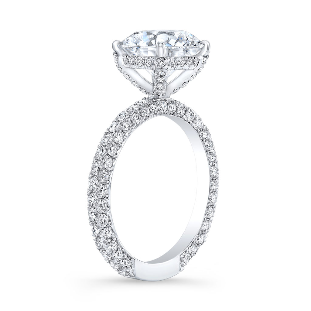 Hidden Halo Engagement Ring With Micro Pave Diamonds
