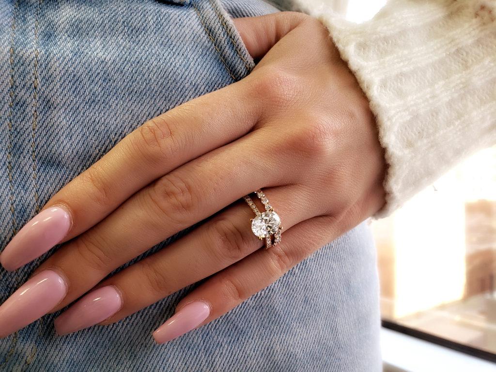 Classic Oval Diamind Engagement Ring Plus Eternity Wedding Band