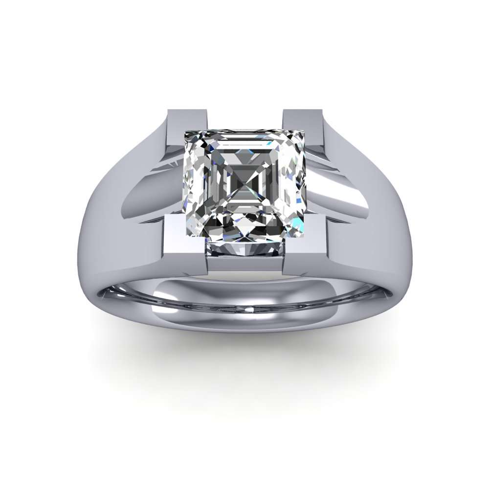 Classic Woven Style Sterling Silver Square//Princess Cut Solitaire Ring Setting