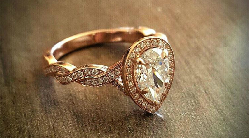 Pear Shaped Rose Gold Engagement Ring