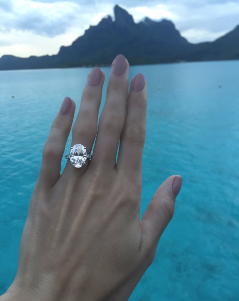 caroline wozniaki 8 carat oval diamond engagement ring