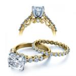 1CT. Natural Diamond Cushion Cut Verragio Half Bezel Designer Insignia Diamond Bridal Set 14k Yellow Gold
