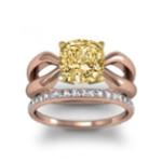1.5CT. Yellow Diamond Cushion Cut 2MM Split Shank Design Solitaire Natural Diamonds Anniversary Ring 14K Rose Gold GIA