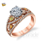 1CT. Natural Diamond Cushion Cut Parade Design Reverie Bridal Sculpted Scroll Design Pave Ring 18K White Gold GIA