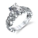 2.5CT. Natural Diamond Cushion Cut Scalloped Pave Design Hemera Bridal R3155/R1 Platinum GIA