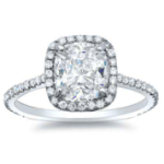 1.68CT. Natural Diamond Cushion Cut Halo U-Prong Pave Natural Diamonds Engagement Ring 14K White Gold GIA