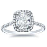 1.68CT. Natural Diamond Cushion Cut Halo U-Prong Pave Natural Diamonds Engagement Ring 14K White Gold GIA