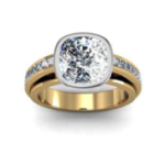 2.1CT Natural Diamond Cushion Cut Bezel Channel Setting Natural Diamonds Engagement Ring 14K Yellow Gold GIA