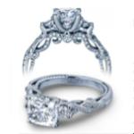1.2 CT Natural Diamond Cushion Cut Verragio 3-Stone Insignia Infinity Pave Designer Engagement Ring Platinum GIA