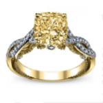 2.2CT Yellow Diamond Cushion Cut Infinity Pave Insignia Verragio Vintage Natural Diamond Bridal Set Yellow Gold GIA