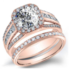 2.2CT Natural Diamond Cushion Cut Natural Channel pave Diamond Split Shank Engagement Ring 14K Rose Gold GIA