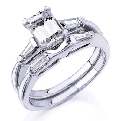 Ct Emerald Cut Diamond Engagement Ring Bridal Set EBay