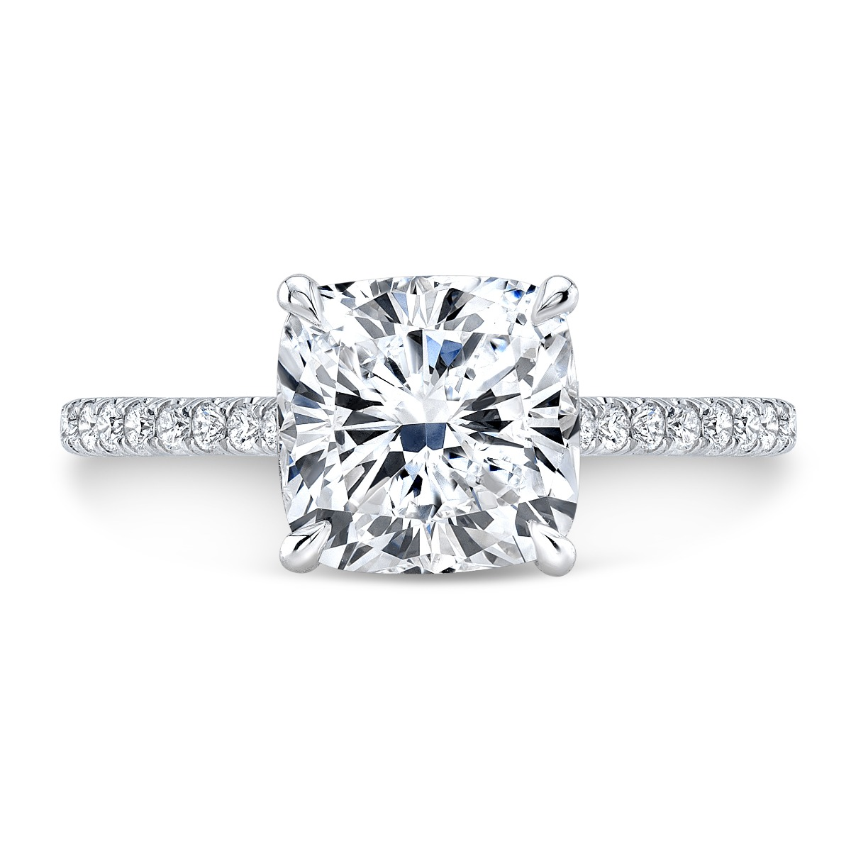 Classic Cushion Cut Diamond Engagement Ring in White Gold